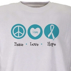Peace - Love - Hope Ovarian Cancer Awareness Personalized T-Shirt