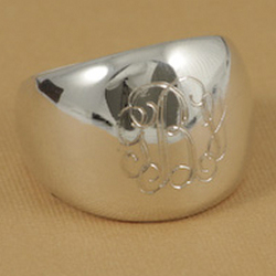 Monogrammed Sterling Silver Dome Ring
