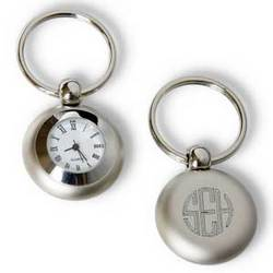 Personalized Brushed Silver Clock Key Chain