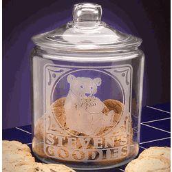 Personalized Boy Teddy Glass Cookie Jar