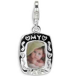 My Baby Photo Frame Charm in Sterling Silver