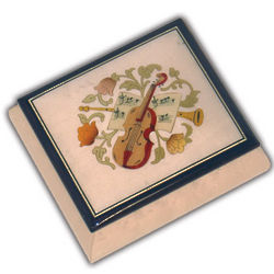White Musical Jewelry Box with Instrumental And Floral Inlay