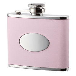 Small Pink Leather Bonded Stainless Steel Flask