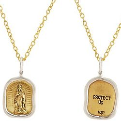 Protect Us Charm Pendant with Brass Chain