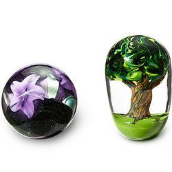 Flower or Tree Glass Paperweight