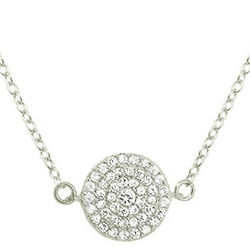 Sterling Silver Round Pave CZ Necklace