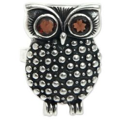 Sukawati Owl Garnet Cocktail Ring