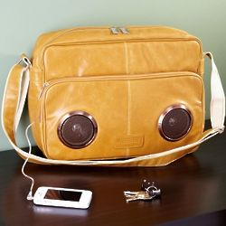 Rock My Way Latte Speaker Messenger Bag