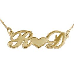 18k Gold Plated Couple's Heart Name Necklace
