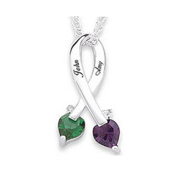 Personalized Couples Birthstone and Name Pendant