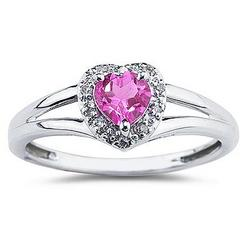 Heart Shaped Pink Topaz and Diamond Ring
