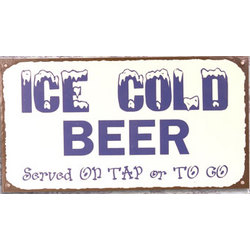 Ice Cold Beer Metal Sign