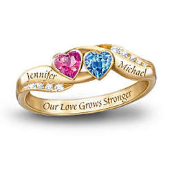 Love's Journey Personalized Birthstone Couples Ring