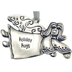 Engraved Holiday Hugs Angel Christmas Ornament