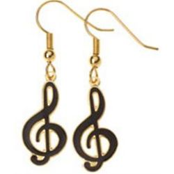 Black G-Clef Earrings