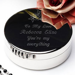 Personalized Silver Rose Jewelry Box