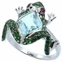 Blue Topaz and Green Garnet Frog Ring
