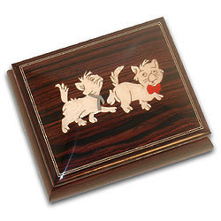 Cute Kittens Dark Wood Musical Jewelry Box