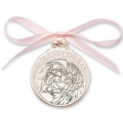 Pink Enamel God Bless Our Baby Crib Medal
