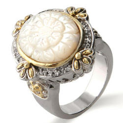 Vintage Designer Inspired Oval Embroidery Style Flower Ring