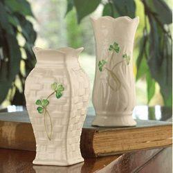 Belleek Mini Shamrock Vase Set