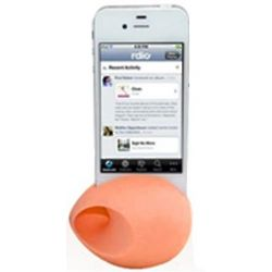 Orange iPhone Silicone Egg Amplifier and Speaker Stand