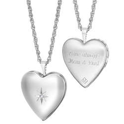 Sterling Silver Diamond Accent Engraved Heart Locket