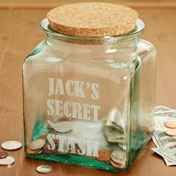 Personalized Secret Stash Mustache Glass Jar