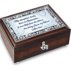Daughter, I Love You Personalized Music Box with Birthstone