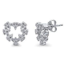 Sterling Silver CZ Open Heart Sawtooth Stud Earrings
