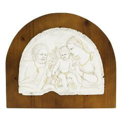 Holy Family Ivory Plaque with Wood Background
