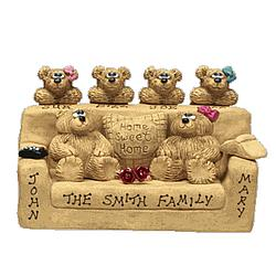 Personalized Father, Mother, and Kids Bears in Chair