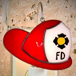 Fire Hat Stained Glass Ornament