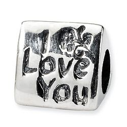 I Love You, #1 and Mom in Sterling Silver Trilogy Bead