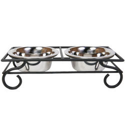 Decorative Scroll Double Diner for Small Dogs