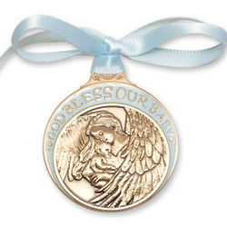 Blue Enamel God Bless Our Baby Crib Medal