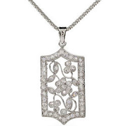 Sterling Silver and CZ Floral Victorian Necklace
