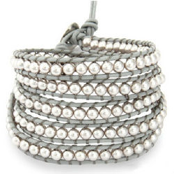 Five Row Gray Shell Pearl Wrap Bracelet