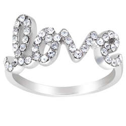 Platinum Plated Crystal Love Ring