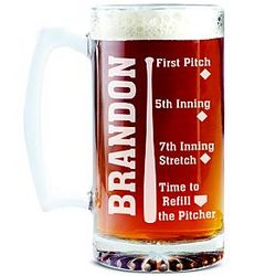 Personalized Baseball Sportsaholic Beer Mug
