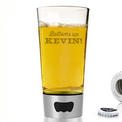 Bottoms Up! Personalized Beer Pint Glass with Bottle Opener