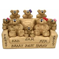Personalized Dad, Mom, and Grandkids Bears in Chair