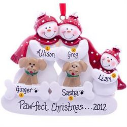 Personalized Snow Family of 3 with 2 Tan Dogs Ornament