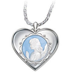 Guardian Angel Cameo Pendant Necklace for Granddaughter
