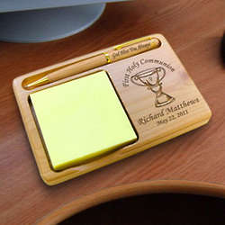 Personalized Chalice Wooden Notepad and Pen Holder