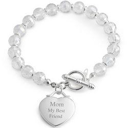 Engravable Clear Beaded Bracelet