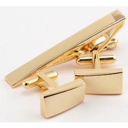 Engravable Gold Plated Cuff Links and Tie Bar