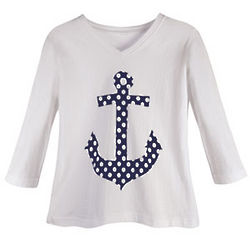 Girl's Polka Dot Anchor Top