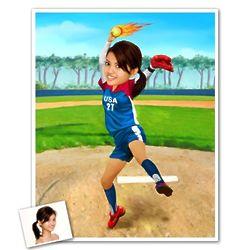 Softball Caricature Print from Photo