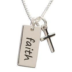 Sterling Silver Faith Pendant Necklace with Cross